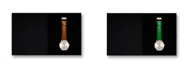 古典的な女性ゴールドウォッチブラックダイヤル、レザーストラップ、白い背景の分離