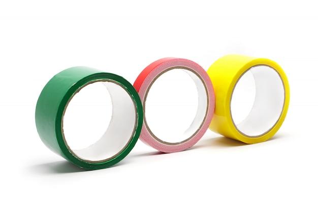 着色された粘着テープ、テープ分離物、接着剤、家の修理用アクセサリー、および職場の修理ツール。