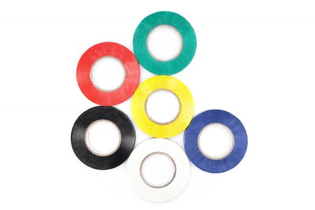 粘着性のあるカラフルな電気保護テープのセット。