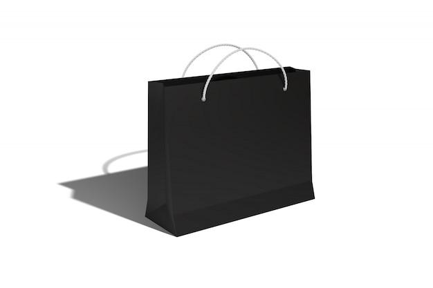 Бумажный пакет из картона для покупки моркови в магазине со скидкой и для продажи в черном цвете отбрасывает тень на белый изолят.