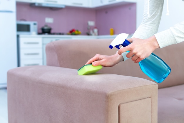Очистка дивана с губкой и спрей в комнате дома. уборка и уборка. стиральная мебель