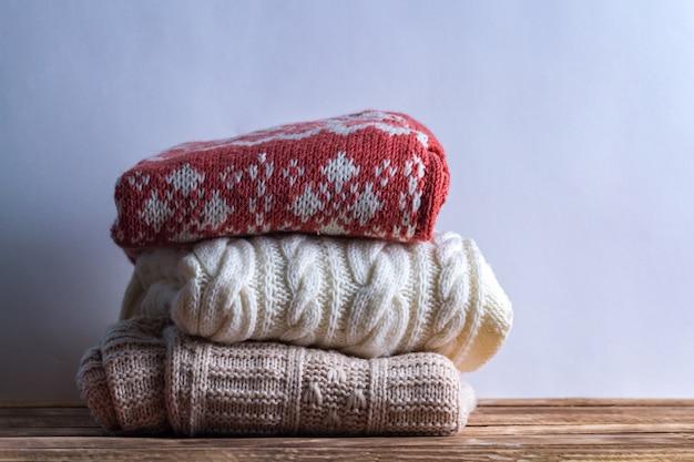 冬、ニット服。暖かいセーター