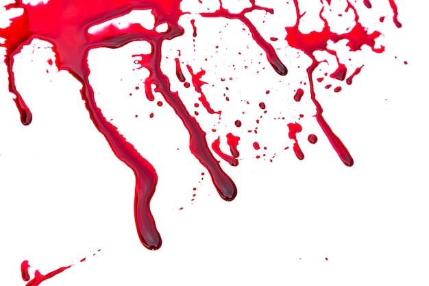 白い背景の上の血痕