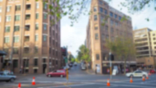 Улица с нефокусированных зданий