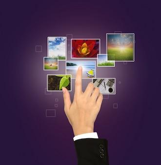 Виртуальный экран с различными фотографиями
