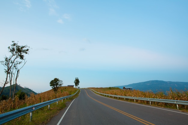 青い空と山の道
