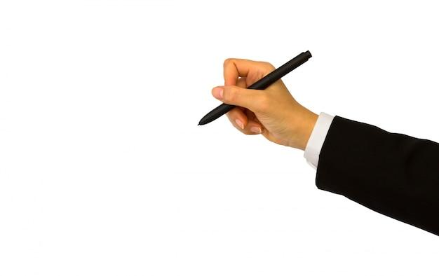 黒のペンを持った手