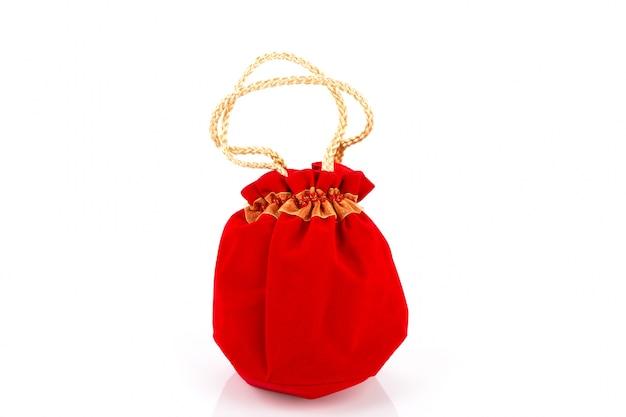 Китайский новый год мешок подарка и украшения на белом фоне
