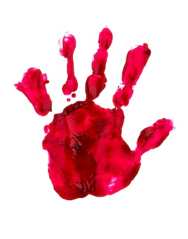 Кровавая печать руки и пальцы на белой стене
