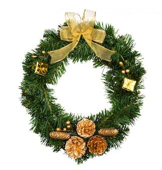白地に孤立したクリスマスリース