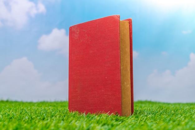 緑の芝生の上でモックアップブランクカタログ、雑誌、書籍