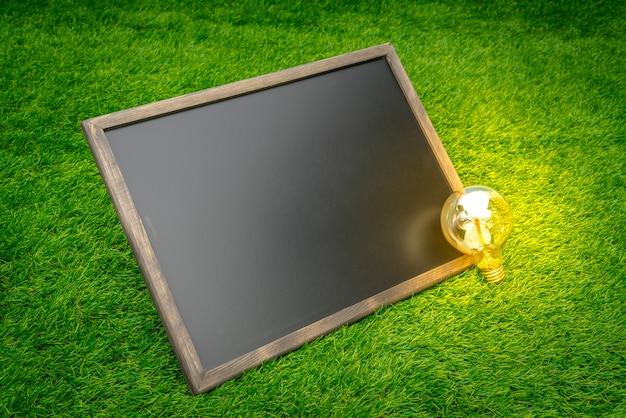 芝生のフィールド上の空白の黒板と電球