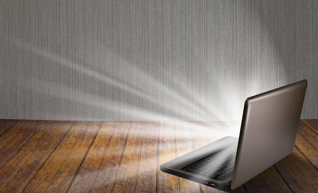 明るく発光するノートパソコン