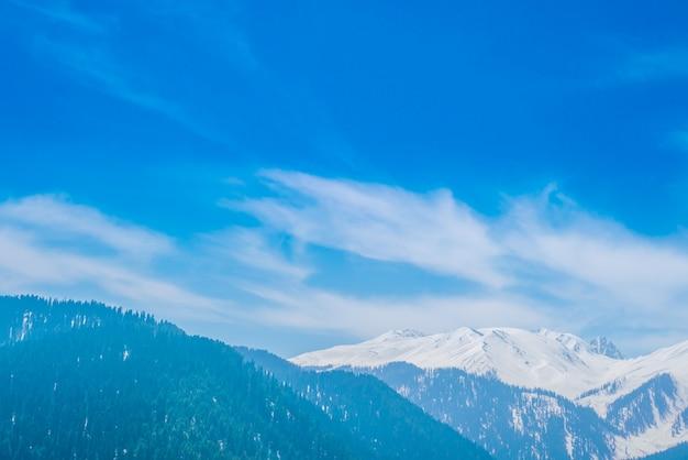 カシミール州、インドの美しい雪山の風景。