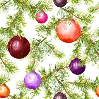 Рождественские безделушки и еловые ветки. бесшовные шаблон для рождественского дизайна. акварель