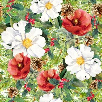 冬の花、松の木の枝、コーン、ヤドリギ。クリスマスのシームレスなパターン。水彩