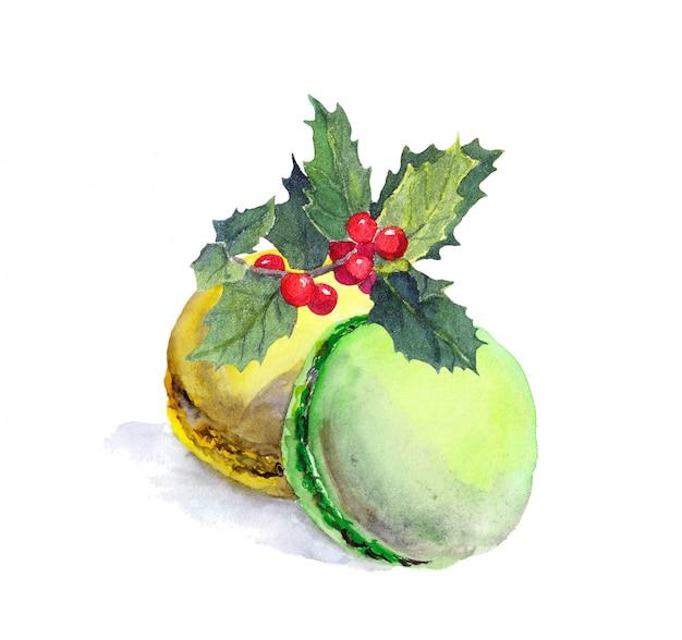 マカロンケーキとクリスマスのヤドリギ