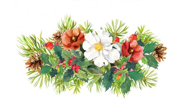 Зимние цветы, елка, рождественская омела. акварель