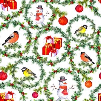 クリスマスのシームレスな背景、水彩