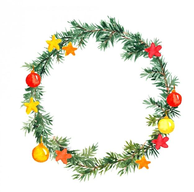 Рождественская елка венок с шарами и звездами. акварель