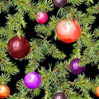 クリスマスつまらないものと針葉樹の枝。クリスマスデザインの繰り返しパターン。水彩