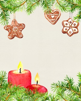 ジンジャーブレッドクリスマスクッキー、モミの木の枝、キャンドル。クリスマスカードの背景の空の空白。水彩