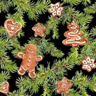 ジンジャーブレッドマン、クッキー、松の枝。