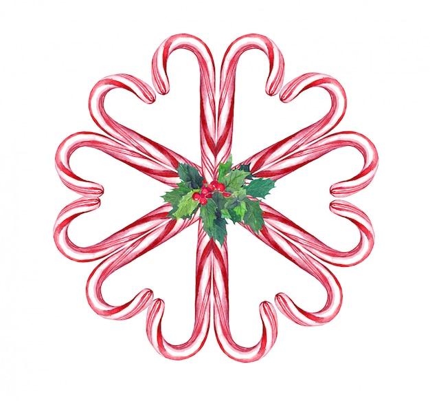 クリスマスのドアリース、キャンディケインとクリスマスヤドリギのコンポジション。水彩