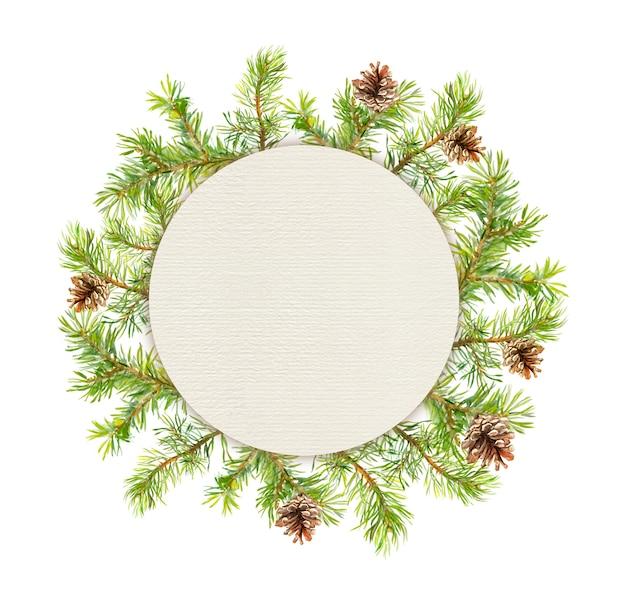 スプルースリース-モミの木。水彩クリスマスイラスト