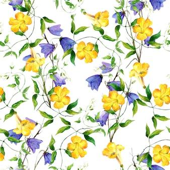 黄色の花とブルーベル。繰り返し花柄水彩画