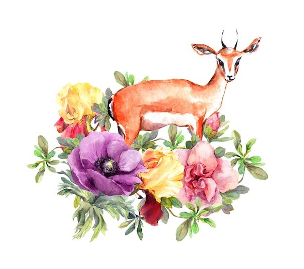 花のかわいいガゼル動物。印刷またはカードの花柄。水彩