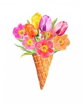 アイスクリームコーンの春のチューリップの花。花の水彩画