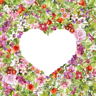 Цветочная кайма - в форме сердца. летние цветы, луговые травы, дикая трава. акварель на день святого валентина