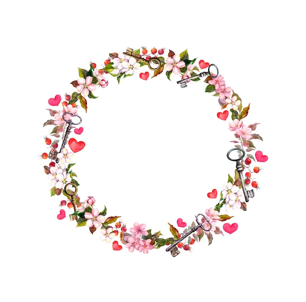 ピンクの花、ハート、キーと花の花輪。バレンタインの日、結婚式の水彩サークル境界線