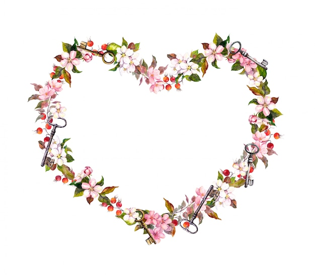 フローラルリース-ハート形。ピンクの花、ハート、キー。バレンタインの日、結婚式の水彩画