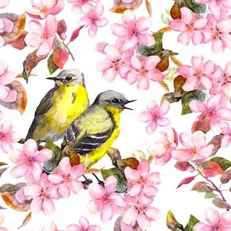 Бесшовный повторяющийся цветочный узор - розовая вишня, сакура и яблоневые цветы. акварель