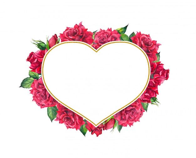 Красные розы с сердцем формы золотой раме. акварельная открытка