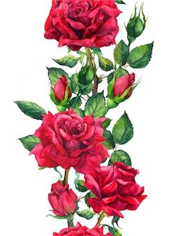 赤いバラの花-シームレスな花柄