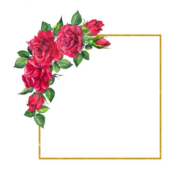 赤いバラ、正方形のゴールデンフレーム。花と花輪の水彩画カード