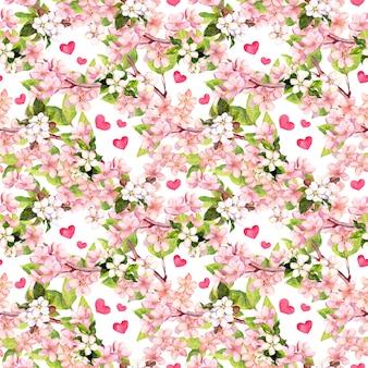 Вишневый цвет, яблочно-розовые цветы, сердечки. цветочный повторяющийся узор на день святого валентина или свадьбы. акварель
