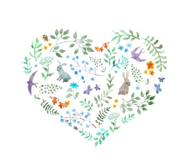 ビンテージハート-かわいい花、ウサギ、鳥。水彩