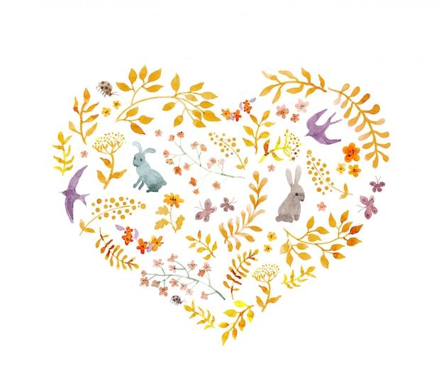 ビンテージハート-秋の葉、ウサギ、鳥。水彩