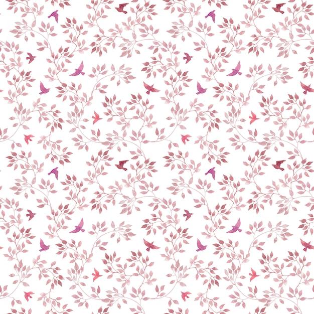 シームレスな繰り返しパターン-手描きのピンクの葉と鳥。水彩のガーリーまたはフェミニンなデザイン