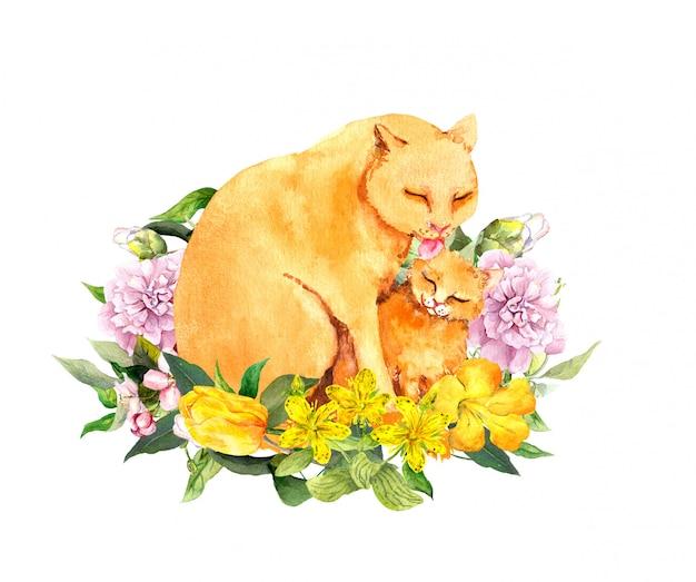 Мать кошка лизать ее ребенка котенка. день матери карточка для мамы с милые животные вместе в цветах. акварель