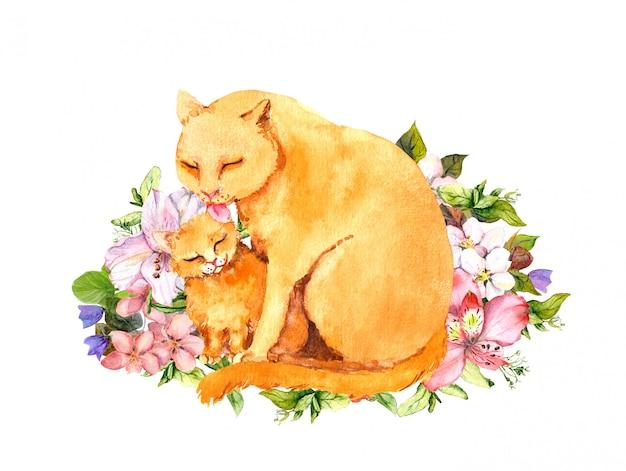 Акварель мама кошка с котенком. открытка на день матери для мамы с прекрасным животным в траве, цветы.