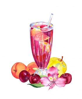 グラスにフルーツ、ベリー、花とフルーツドリンク(ジュース、カクテル)。