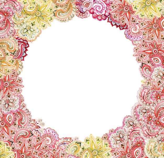 Декоративная карта - старинный осенний орнамент. изысканная круглая рамка с акварельным дизайном