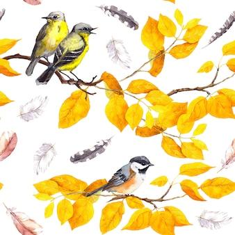 Птицы на ветке. бесшовные повторяющийся узор. акварель