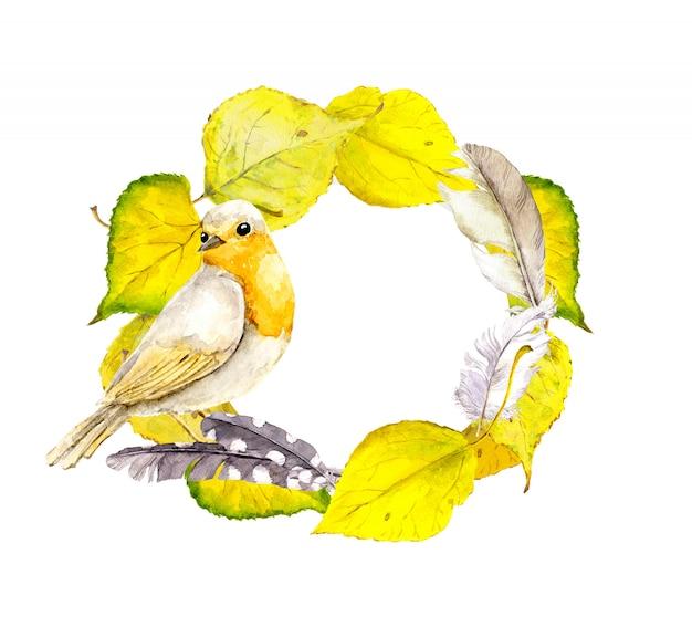 鳥と黄色の葉で秋の花輪フレーム。水彩