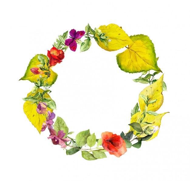 Яркий осенний венок. цветы, желтые листья. цветочная акварельная рамка